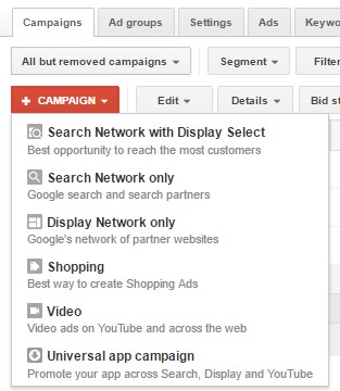 google adwords - campaign types - graphic designers chicago