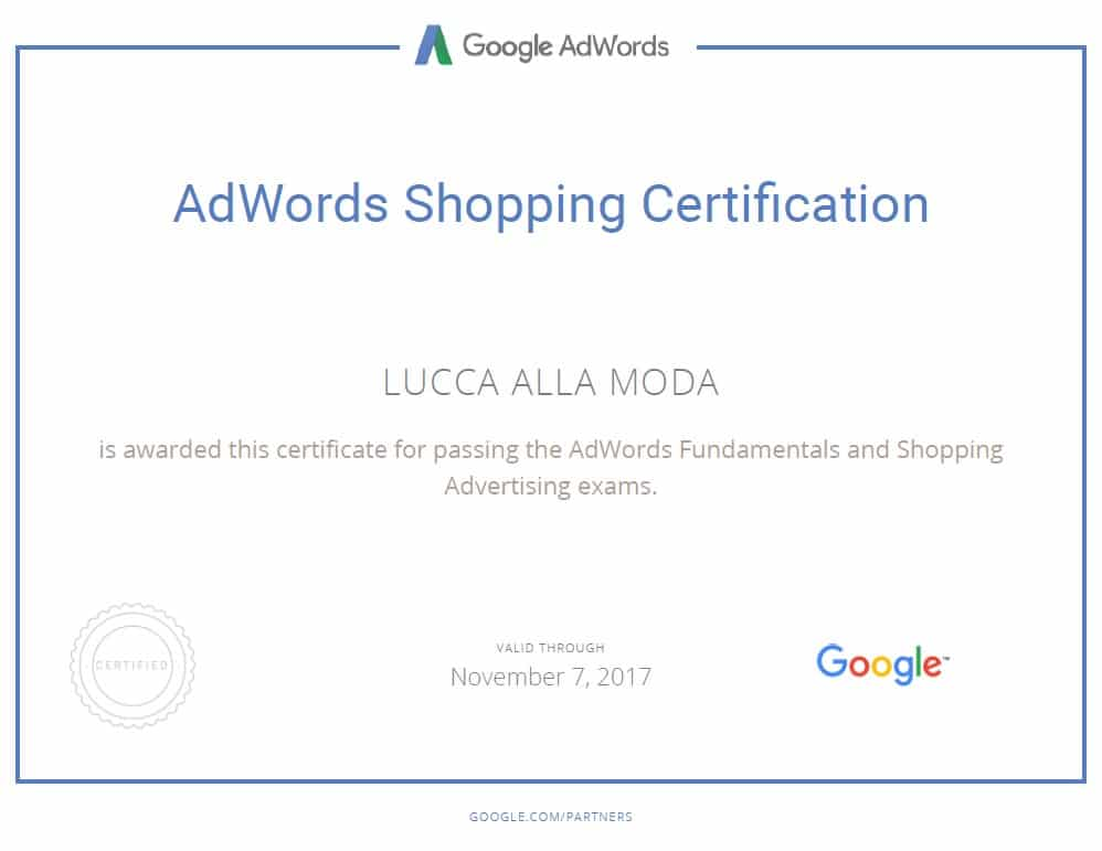google adwords shopping certification - lucca am
