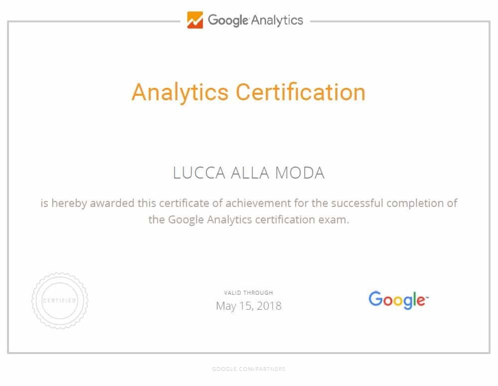 google analytics certification - lucca am