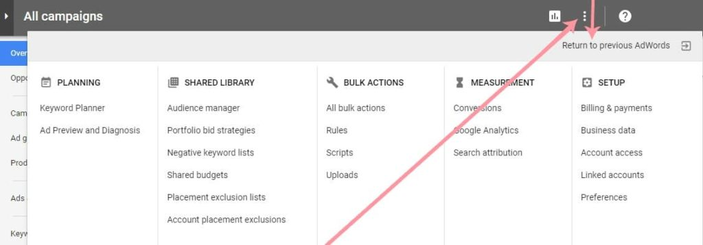 how to return to previous adwords version