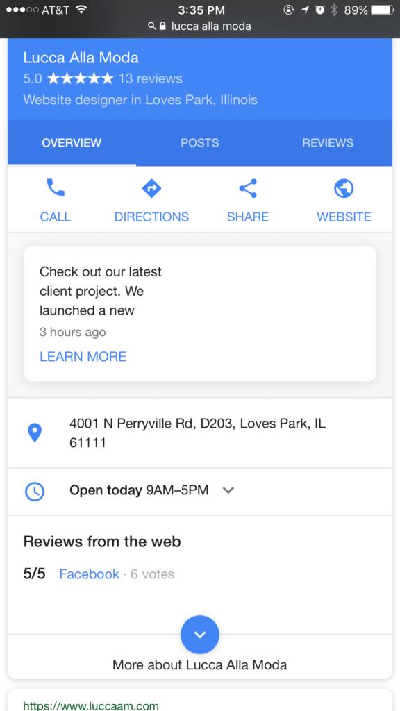 google post - SERP - website design in rockford