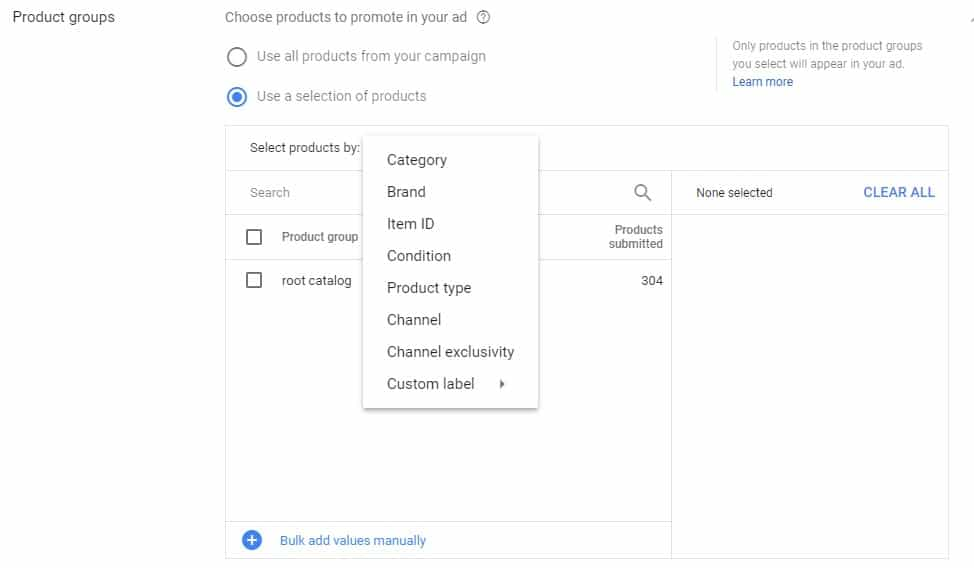 adwords product groups