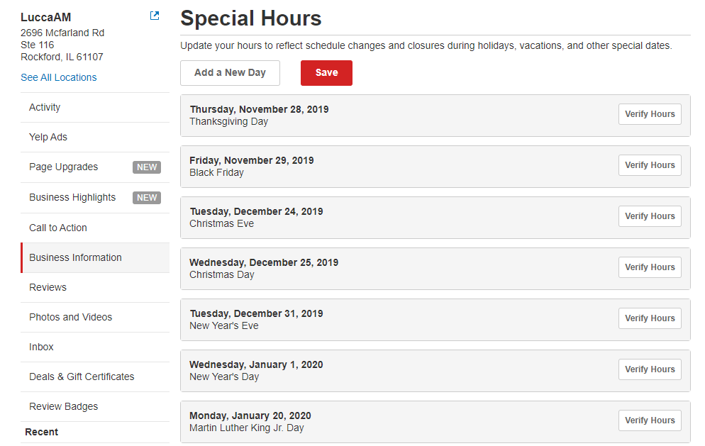 yelp special hours
