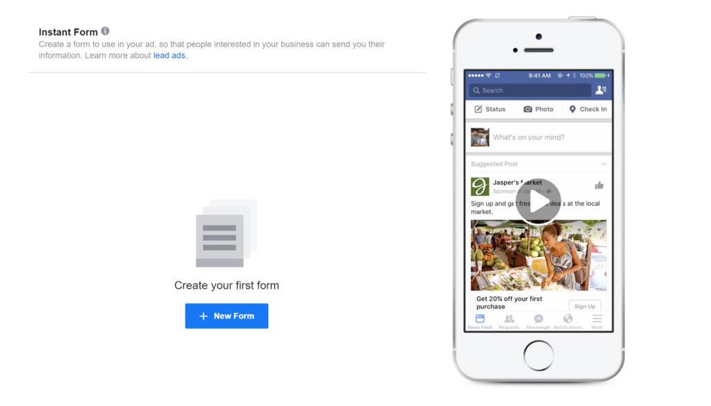 facebook ads instant form