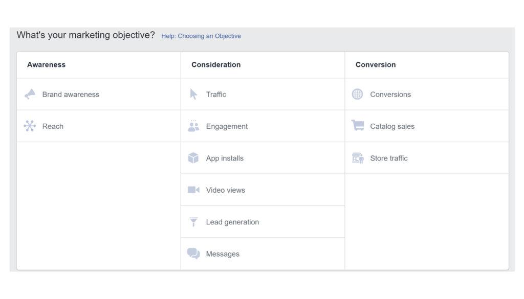 facebook ads manager - marketing objective